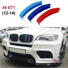 3D M Estilo Parrilla Delantera Recortar Tiras de deporte Cubierta Decoración Pegatinas para 2012-2014 BMW X6 E71 E72