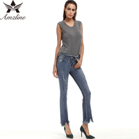 Aodibao 2017 Spring Summer Newest Skinny Stretch Bell Bottom Tassel Push Up Jeans Ripped Plus Size