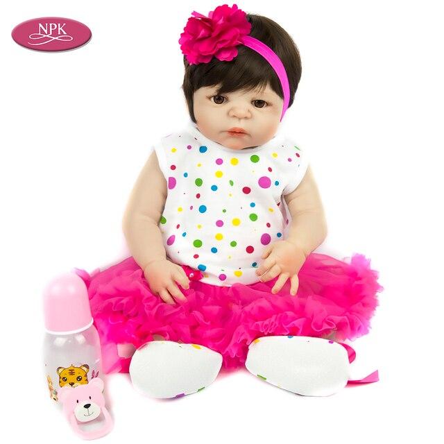 2b009cdfa9865 NPK 57 CM corps entier Silicone Reborn bébé poupée fille jouets de bain  doux vinyle mode