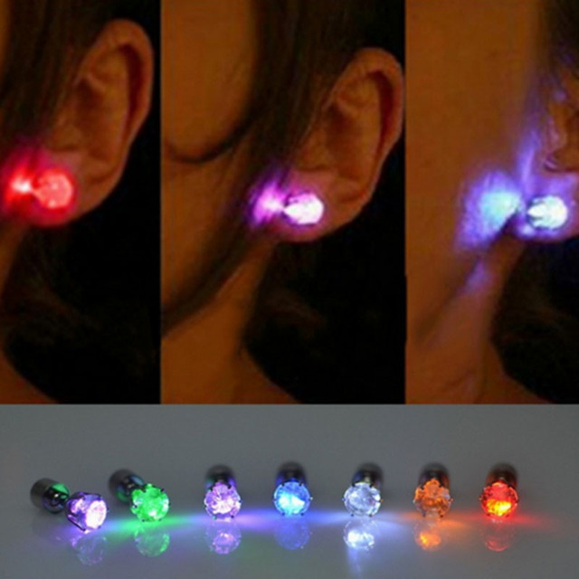 10pcs simulation diamond earrings bar night clubs dance luminous 10pcs simulation diamond earrings bar night clubs dance luminous earring studs glow prop led lights wedding aloadofball Image collections