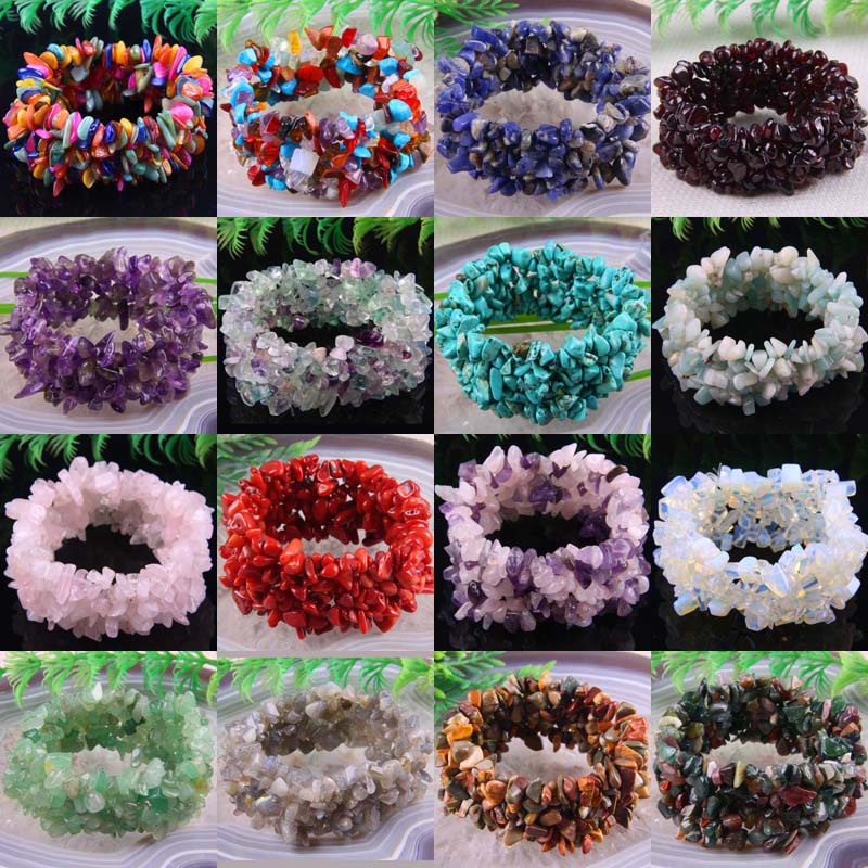 Bracelet Shell Opal Quartz Coral Stretch-Chip-Beads Natural Crystal 1pcs 7-Weave Fluorite