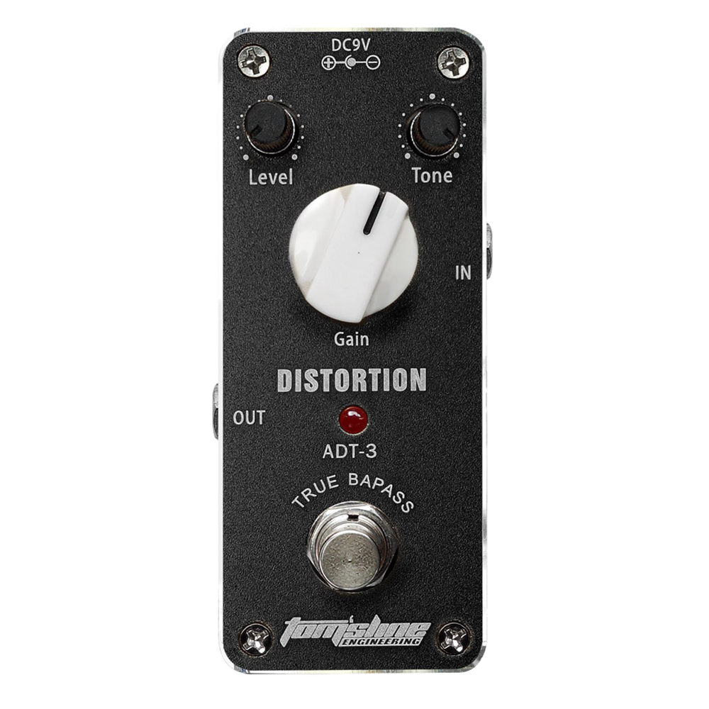 Tomsline ADT-3 Distortion Mini Analogue Effect Electric Guitar Pedal True Bypass Level Tone Gain Knob Pedal Switch AROMA tomsline alr 3 guitar effect pedal accessories liner aby line selector mini electric guitar effect pedal ture bypass