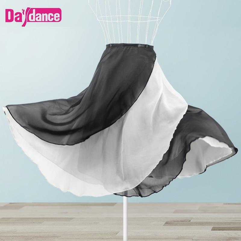 Long Wrap Ballet Skirt Women Lyrical Chiffon Ballet Dress 2 Layers Skirts For Dancing