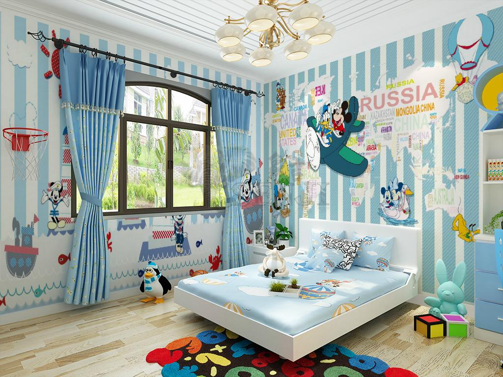 Mickey mouse wall mural donald duck new children wallpaper for Child mural wallpaper