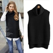 แฟชั่นผู้หญิงฤดูใบไม้ผลิฤดูใบไม้ร่วงผ้าขนสัตว์ชนิดหนึ่งถักเสื้อกันหนาวคอหลวมเสื้อ Pullovers หญิงแขนกุด Plus ขนาด 2018