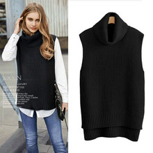 Fashion Women Spring Autumn Cashmere Wool Knitted Sweaters High collar Loose Vests Female Pullovers Sleeveless Plus Size 2018