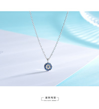 Clavicle chain student short creative hipster jewelry S925 silver blue eyes devil eye necklace