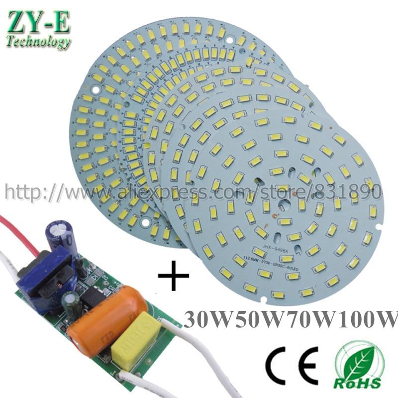 2Set AC 220V LED PCB Aluminum Baord Plate SMD5730 18W 30W 36W 50W 70W 100W Pcb With Driver LED Bay Light Ceiling Light LED Bulb