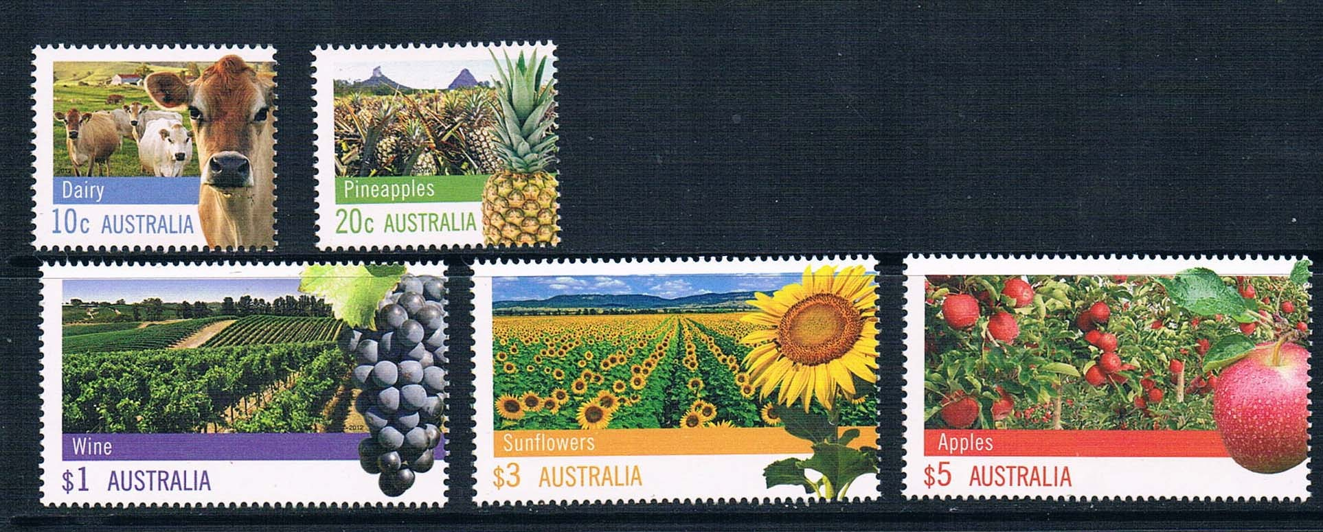K0896 Australia 2012 agriculture and animal husbandry products grapes cattle sunflower stamp 5 new 0613 pastoralism and agriculture pennar basin india