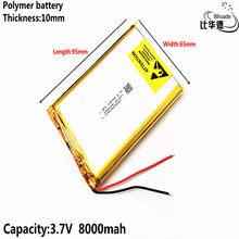 Batterie lithium-polymère 106595, 3.7 V, 8000 mah, de bonne qualité, pour recharge d'urgence, DIY