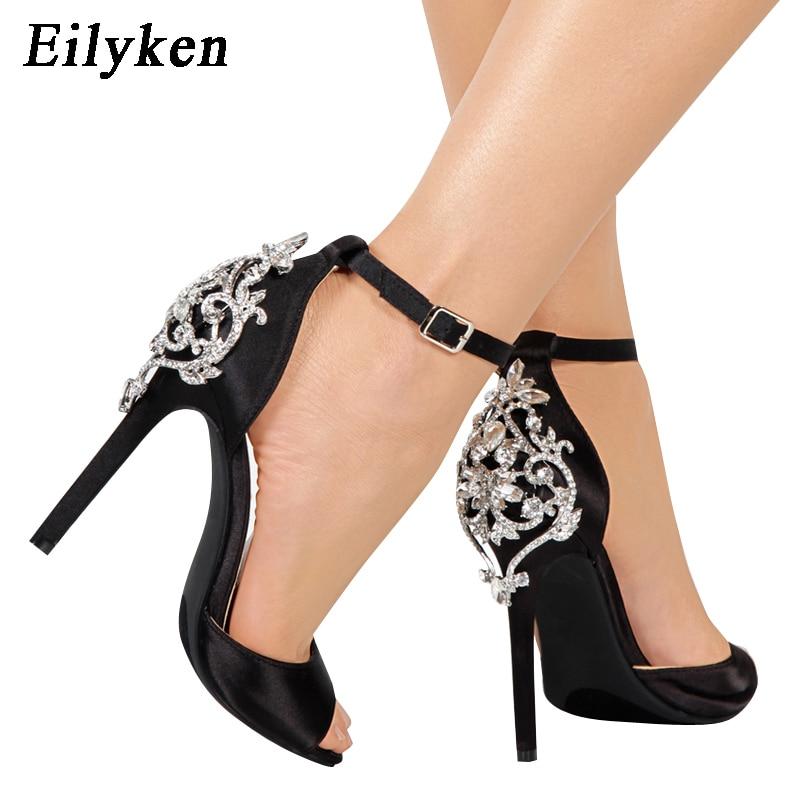 Eilyken New Roman Sandals Ankle Buckle Luxury Big Crystal High Heels Women Sexy Stiletto Pumps Club Party Wedding Shoes Woman