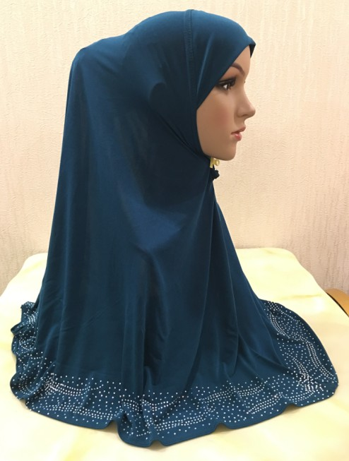 H1349 the most suitable size pull on hijab instant pray hijab with stones islamic scarf fast