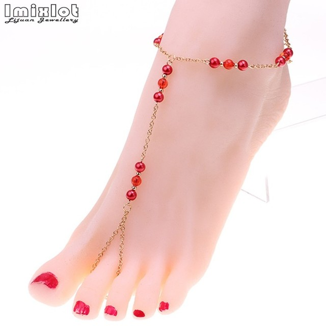 69f619bfc6f Imixlot Fashion Pearl Anklet Women Ankle Bracelet Beach Imitation Pearl  Barefoot Sandal Anklet Chain Foot Jewelry