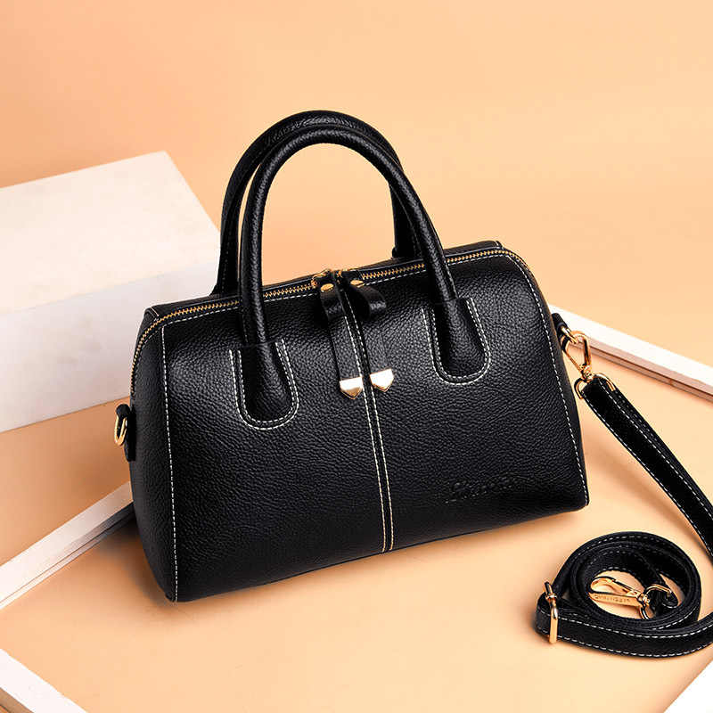 Fashion Patchwork Genuine Leather Women's Handbags Luxury Shoulder CrossBody Bag Ladies Messenger Bags Boston Women Tote Bags