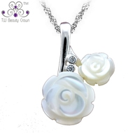 925 Pure Sterling Silver Natural Pearl Shell Necklaces Pendants 2014 New Design Rose Flower Micro Inlays