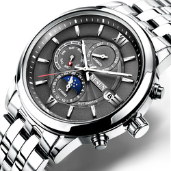 Szwajcarski nesun zegarek męski luksusowy marka automatyczny mechaniczny mężczyzna zegarek Sapphire relogio masculino faza księżyca wodoodporny N9027-5