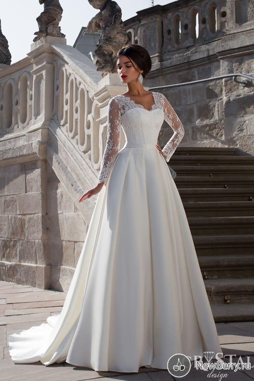 2018 nouvelle élégante chérie à manches longues blanc ivoire Satin robe de mariée chapelle Train a-ligne Zipper mère de la robe de mariée