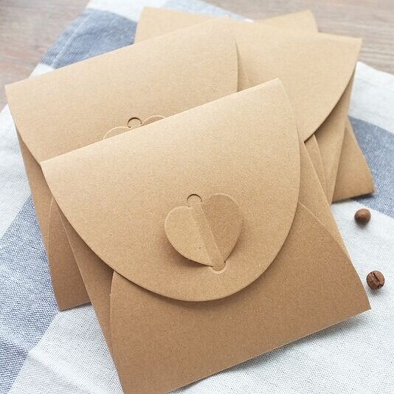 Heart Kraft Blank CD Paper Case Bag 6pcs Kraft Envelope Sleeves Discs DVD CD Card Photo Storage Bag Gift Bag Postcard Invitation