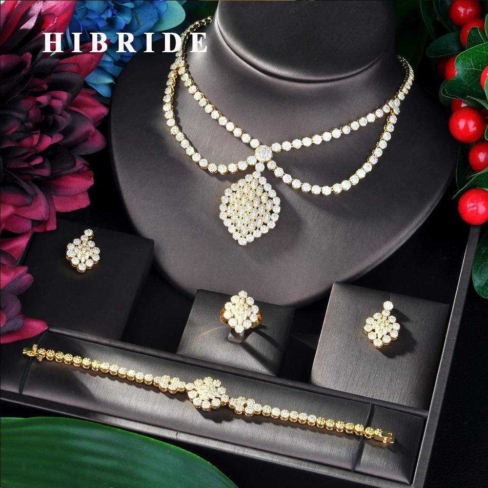 HIBRIDE Luxury Twist Women Nigerian Wedding Bride Cubic Zirconia Necklace Dubai 4PCS Jewelry Set Jewelry Addiction