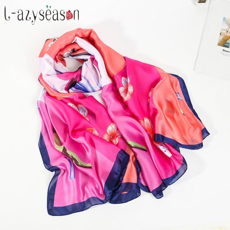 High quality silk Scarf women fashion 2018 Designer print Floral luxury brand Scarves Wraps Summer Lady bandana all-match hijab