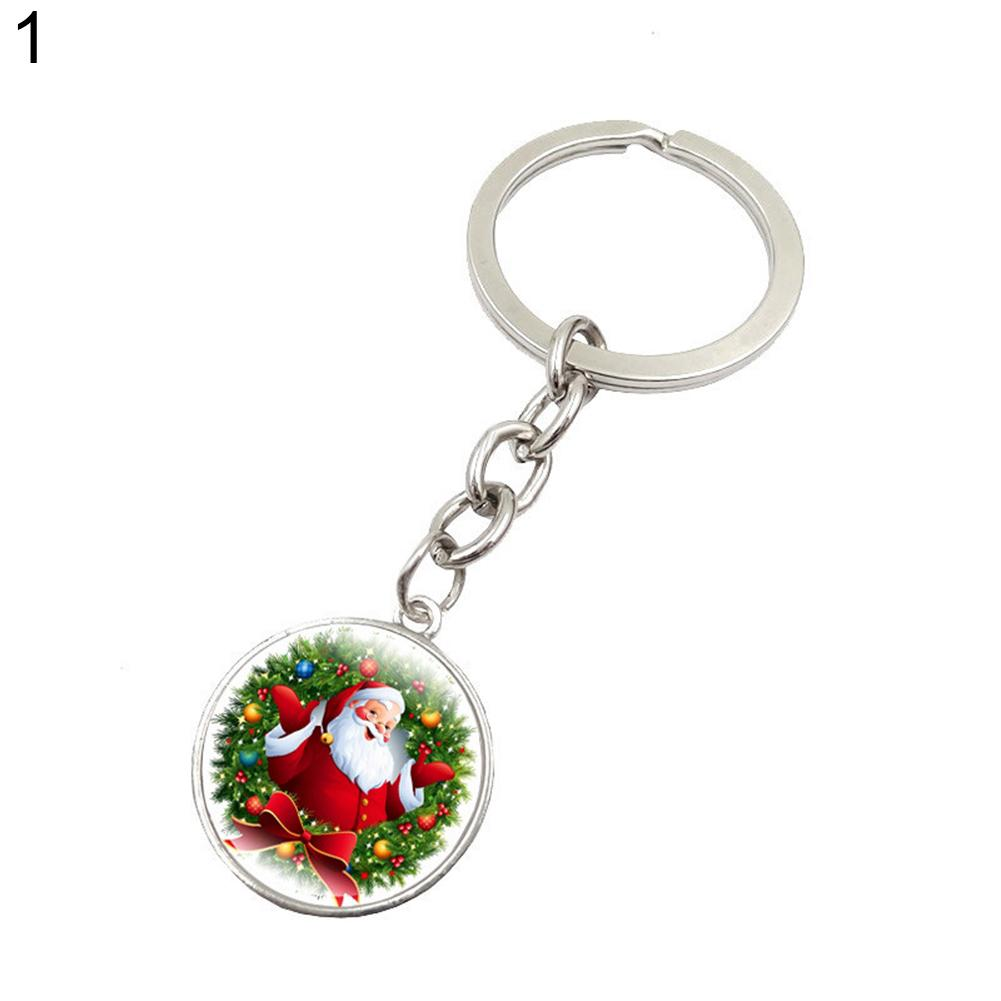 Handmade Glass Pendant Keychain Santa Claus Picture Key Rings Chains Jewelry Christmas Gift
