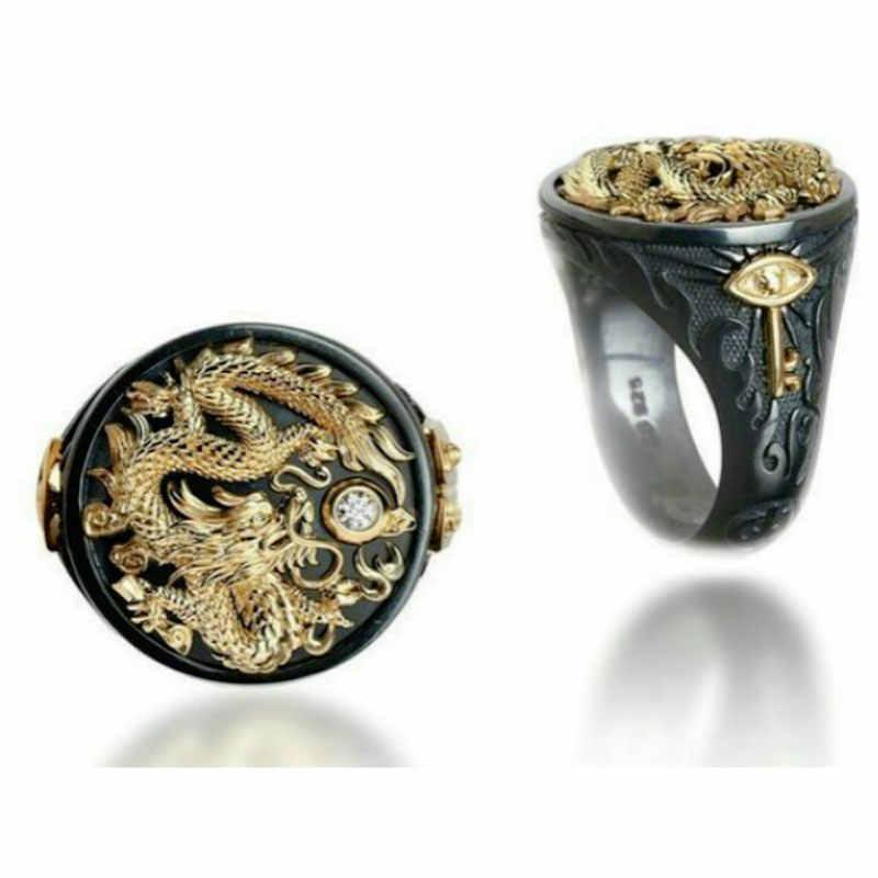 Modyle 2019 สีดำแหวนมังกรทอง CZ หินลูกชายแหวน Vintage Punk Finger แหวนเครื่องประดับ