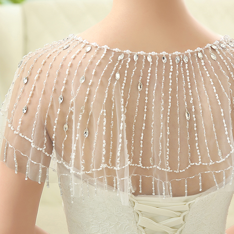 Купить с кэшбэком NEW HOT 2017 Beading Wedding Bridal Wraps Tulle Wedding Bolero Bohemian Style Wedding Jacket Evening Dress Shrug bolero mariage