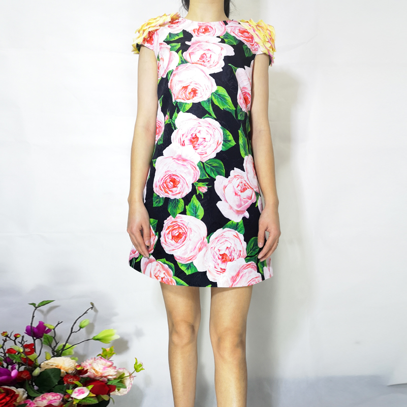 Rétro Multi cou Nouvelle Impression O Droite 2019 Fleur De Femme Pour Qualité D'été Vintage Mode Applique Supérieure Robe TqwWv5OZ