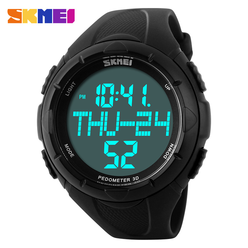 SKMEI Outdoor Sport Dress Watches Men LED Digital Quartz Multifunction Military Watch Calories Pedometer Sports Wristwatch image