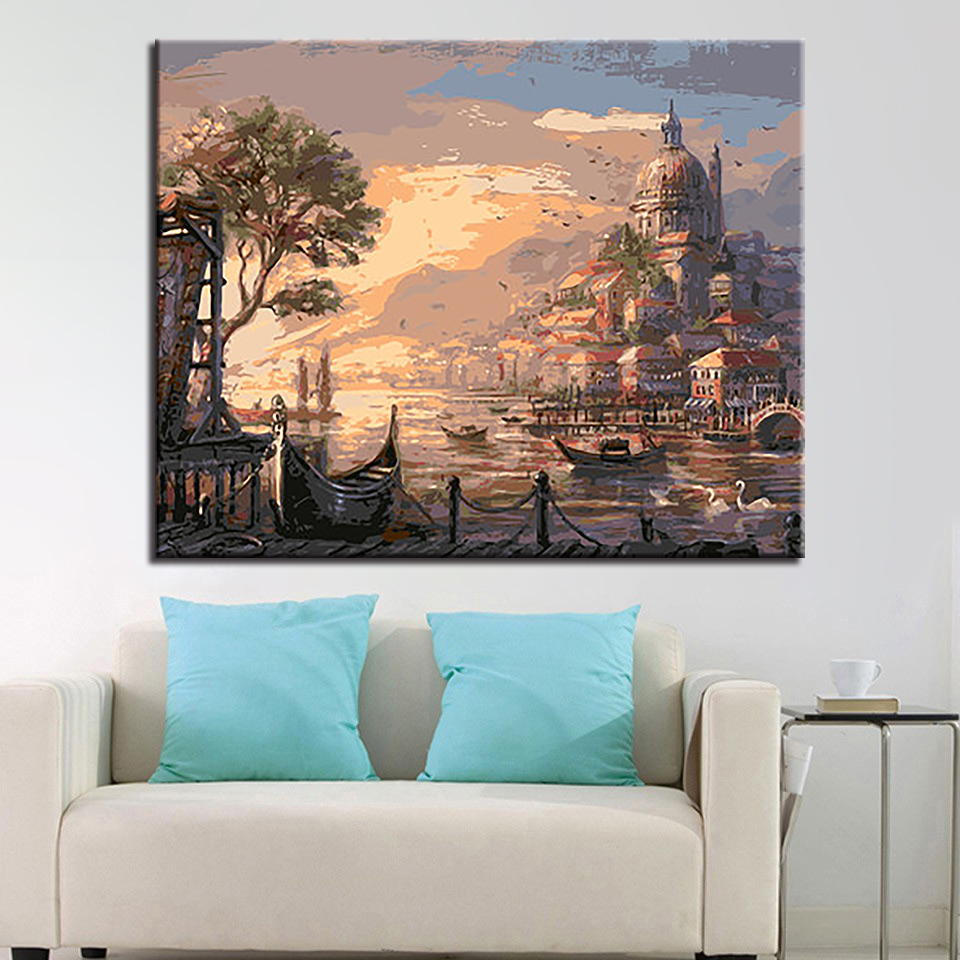 Sunset Venice Castle Diy Painting By Numbers Kits Drawing ...