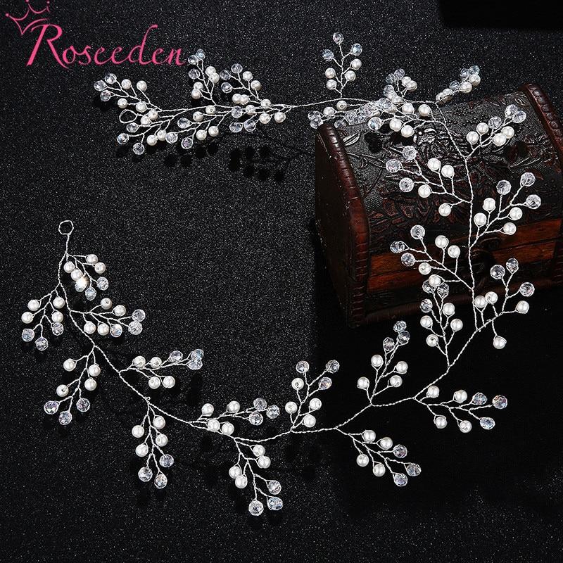 2018 New Romantic Wedding Headbands Headpiece Handmade Pearl Crystal Glass Tiara Bride Hair Accessories RE3075