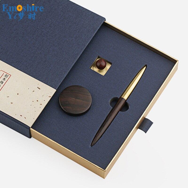 Stylo à bille joint ensemble en laiton massif bois rouleau stylo à bille papeterie affaires bureau anniversaire cadeaux lettrage personnalisé P438