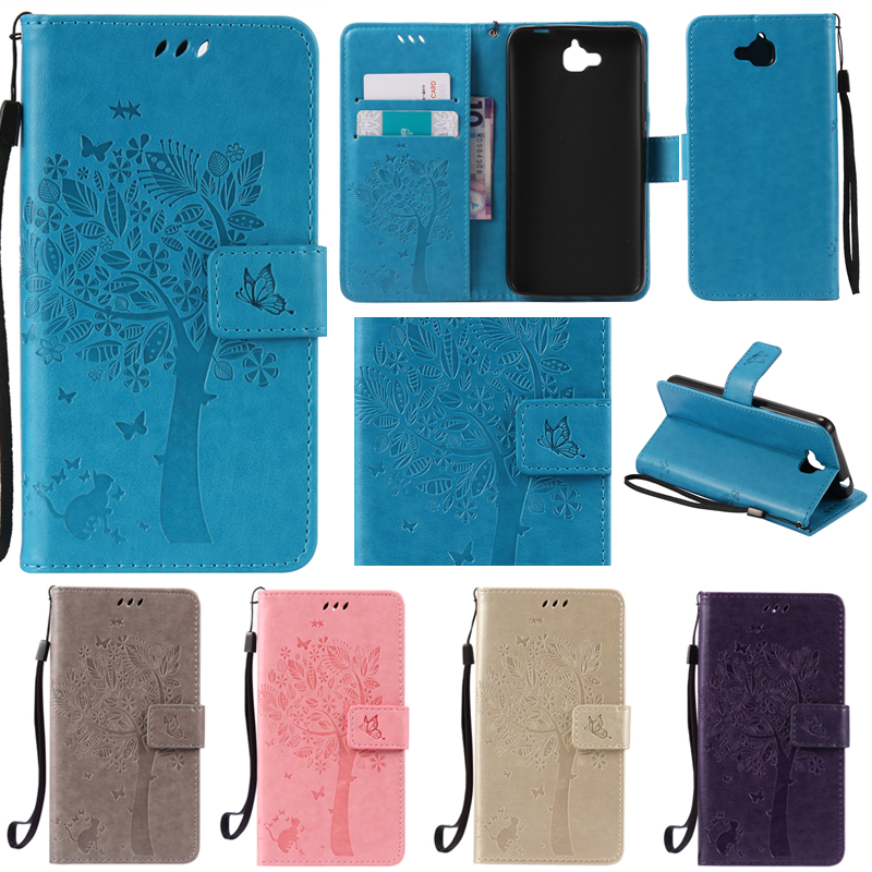 Neo Cute Cartoon Tree and Cat Embossing Wallet Flip Fundas Case Pour Huawei Honor 4C Pro Y6 Pro Enjoy 5 Honor Holly 2 Plus Cover