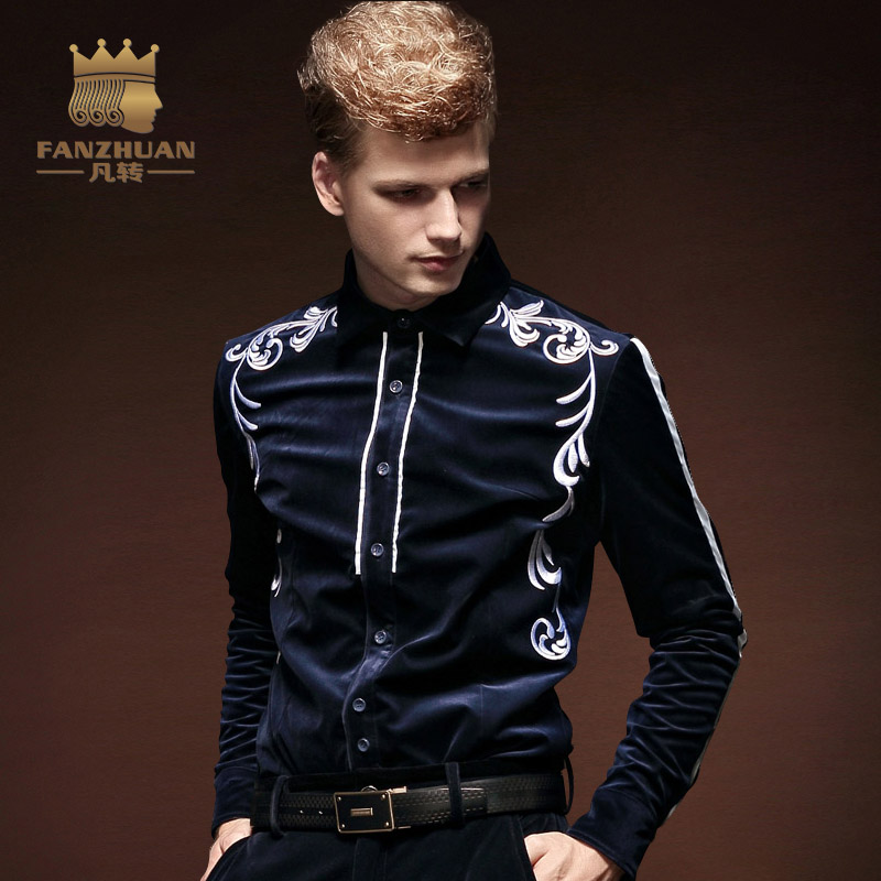 FANZHUAN 2017 Hot New Long-sleeved Mens  Embroidery Shirts Flannel Slim Fit  Winter Male Fashion Blue Shirt Jacket Thicker M-5XL