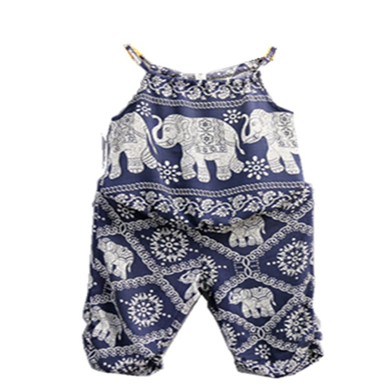 2Pcs Toddler Baby Girl Elephant Outfits Tops Vest Pants Summer Clothes 3-7T Sleeveless Animal Print Cotton Blend