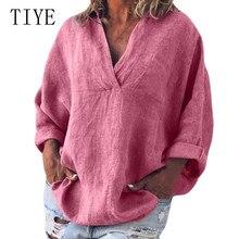 TIYE Elegant Sexy V Neck Women Shirt Ladies Long Sleeve Hollow Out Loose Shirts Casual Blouses Vintage Tops Plus Size 4XL 5XL