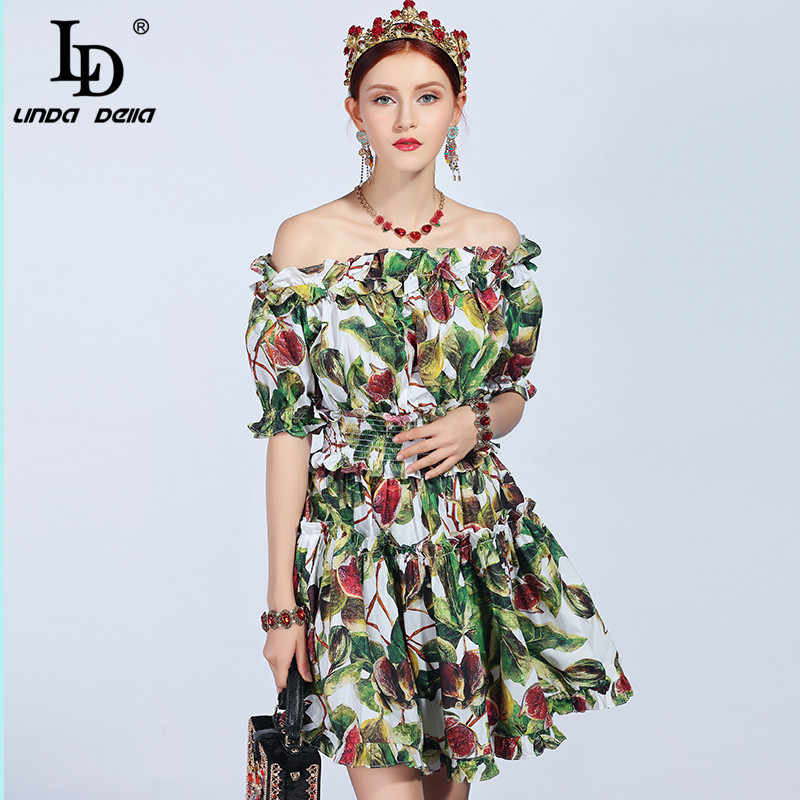 9b4f1bdbb94 LD LINDA DELLA 2019 Fashion Runway Summer Cotton Dress Women s Slash neck  Off the Shoulder Ruffles
