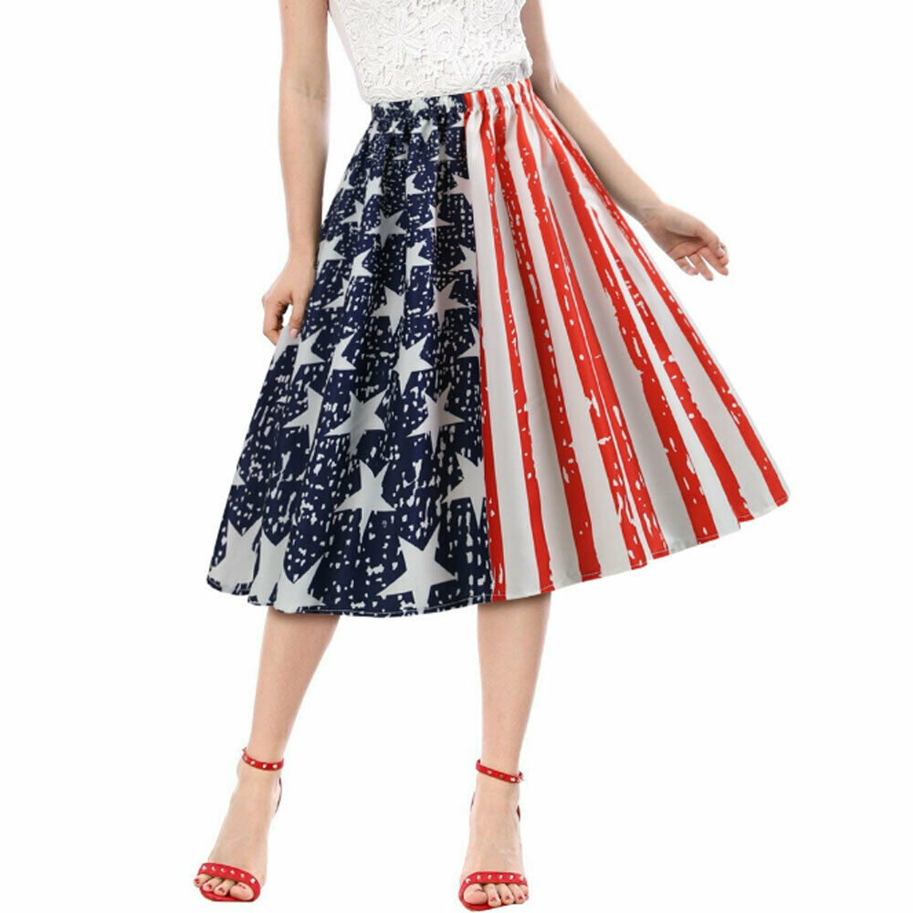 Hirigin Women Girls 4th Of July Clothes Independence Day American Flag Stars Stripes High Waist A-Line Pleated Midi Skirt