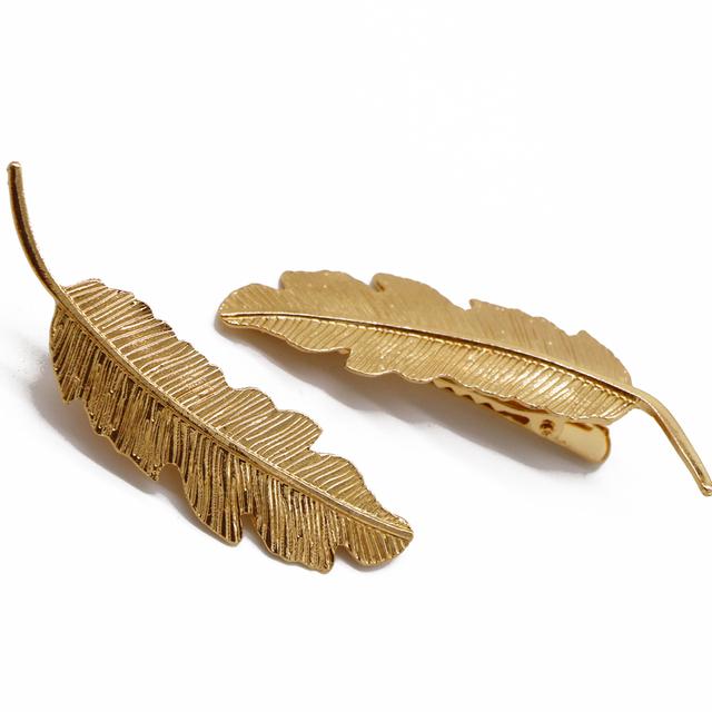 Metal Leaf Shape Hairclips 4 pcs