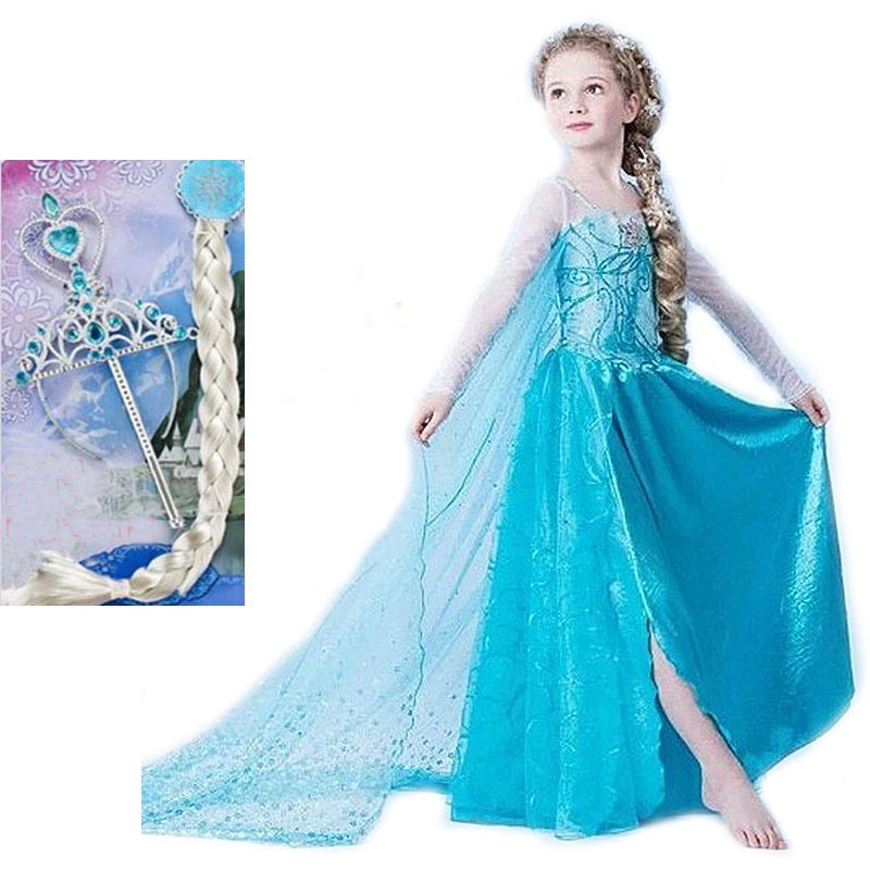 buy princess girl dress kids anna elsa costumes dresses for girls the snow queen christmas toddler girls clothing from reliable