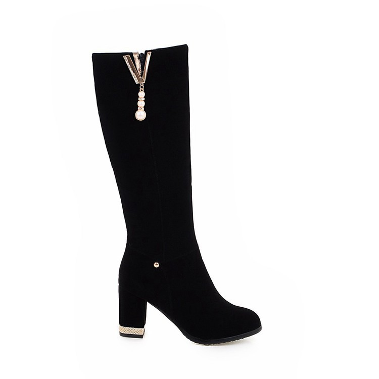 New Beaded Womens Large Size 40 High-heeled Suede Black Knee High Boots Autumn And Winter 7cm16