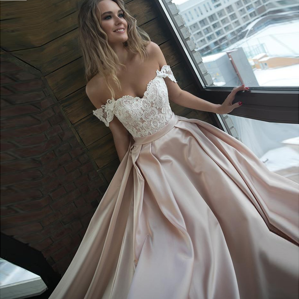 Sexy Off The Shoulder Satin Wedding Dresses Romantic Lace Applique Bridal Gowns with Sleeves Chapel Train Bride Dress 2019-in Wedding Dresses from Weddings & Events