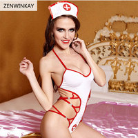 White Negligee Baby Doll Sexy Lingerie 2017 Erotic Lingerie Sexy Costumes Cosplay Sexy Women Nurse Lingere Set with Clothes Hat