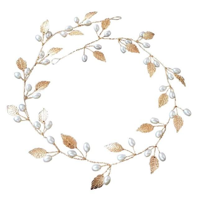 Hair Accessories Wedding Bridal Headband Imitation Pearl Leaves Hairband Women H
