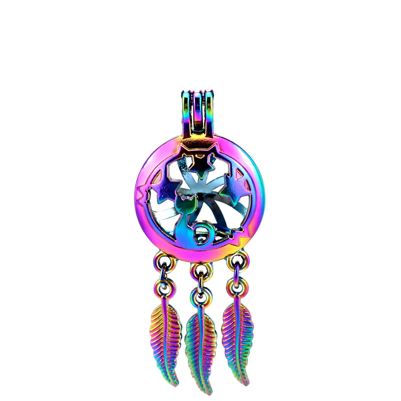 Dashing C764 5pcs/lot Rainbow Color Beaty Dream Catcher Star Cat Leaf Cage Pendant Pearl Locket Fairytale Party Necklaces & Pendants