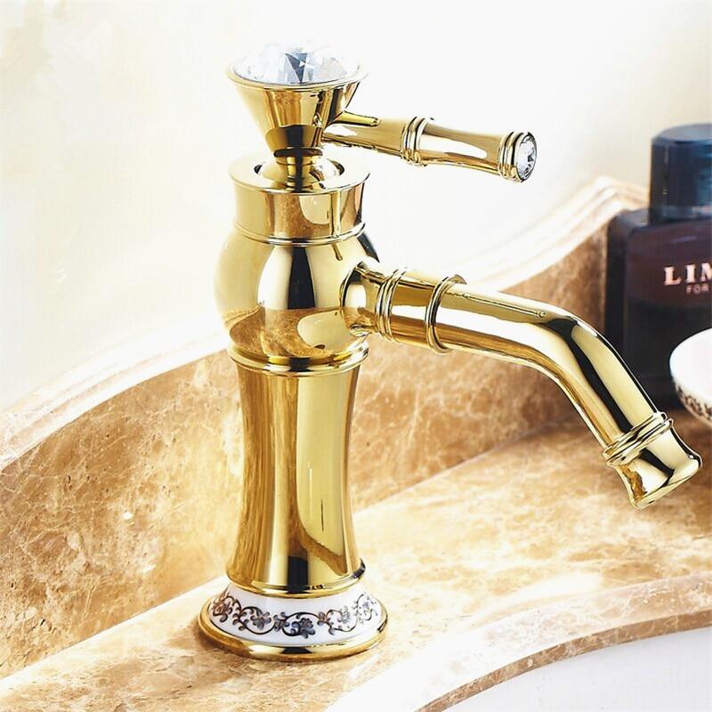fascia alta di trasporto libero rubinetti del bagno oro con strass stile europeo ottone dorato