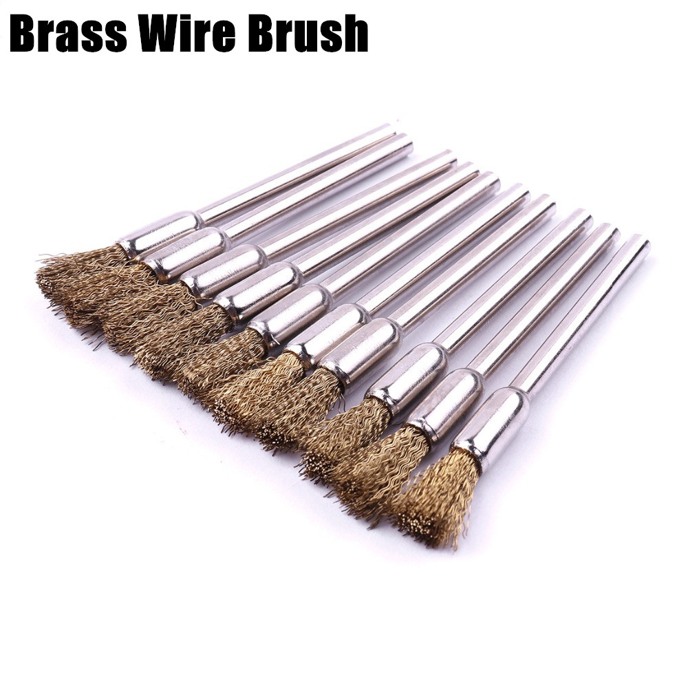 10Pcs 22mm Brass Wire Wheel Brush For Metal Surfaces Removing Rust Polishing