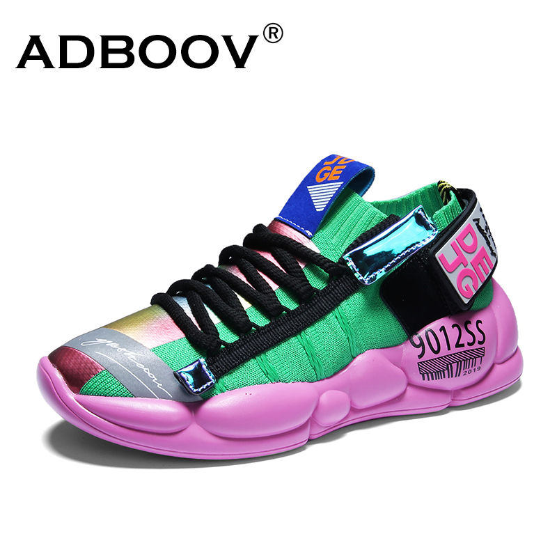 ADBOOV New Sock Sneakers For Women Men Knitted Platform Sneakers Unisex Fashion Woman Casual Shoes Green