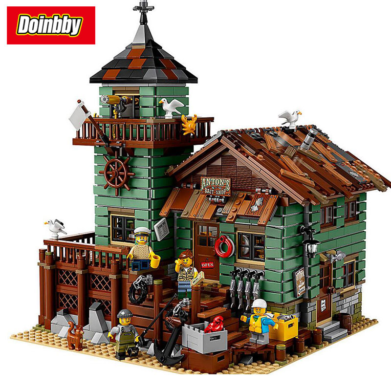 Lepin 16050 Creative Ideas City Series Seaside Old Fishing Store Building Block Bricks Toys Kids Gifts Compatible 21310 hot city series aviation private aircraft lepins building block crew passenger figures airplane cars bricks toys for kids gifts