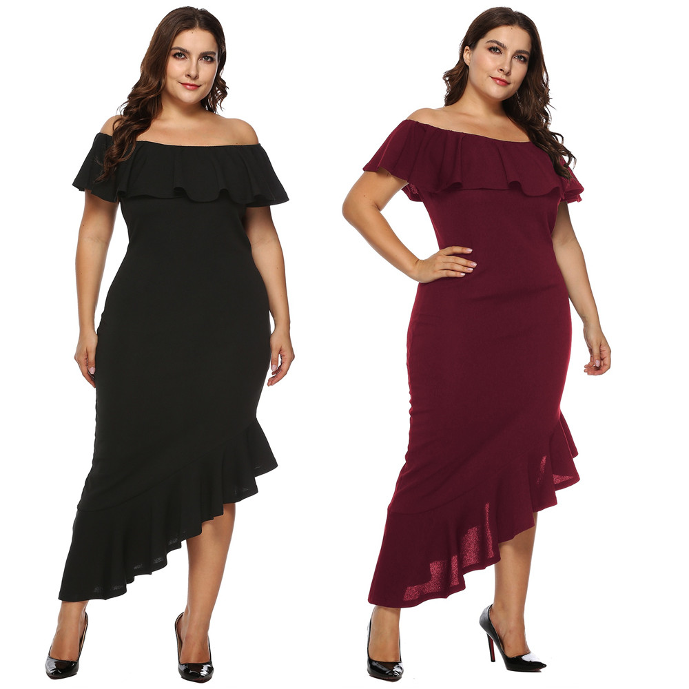 b74d5f414e27a 2018 Fashion Plus Size Dress Large XL/XXL/XXXL Strapless Irregular  Polyester Dress Women Female Pullover Casual Solid Dress New-in Dresses  from ...